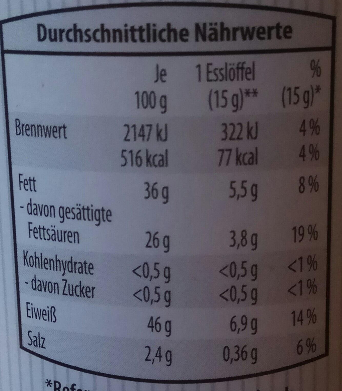 Mezcla de quesos rallados deshidratados - Información nutricional - de