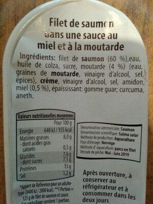Filet de saumon dans une sauce au miel et à la moutarde - Ingrédients - fr