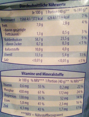 Köstlich-zarte Vollkorn-Haferflocken - Nutrition facts - de
