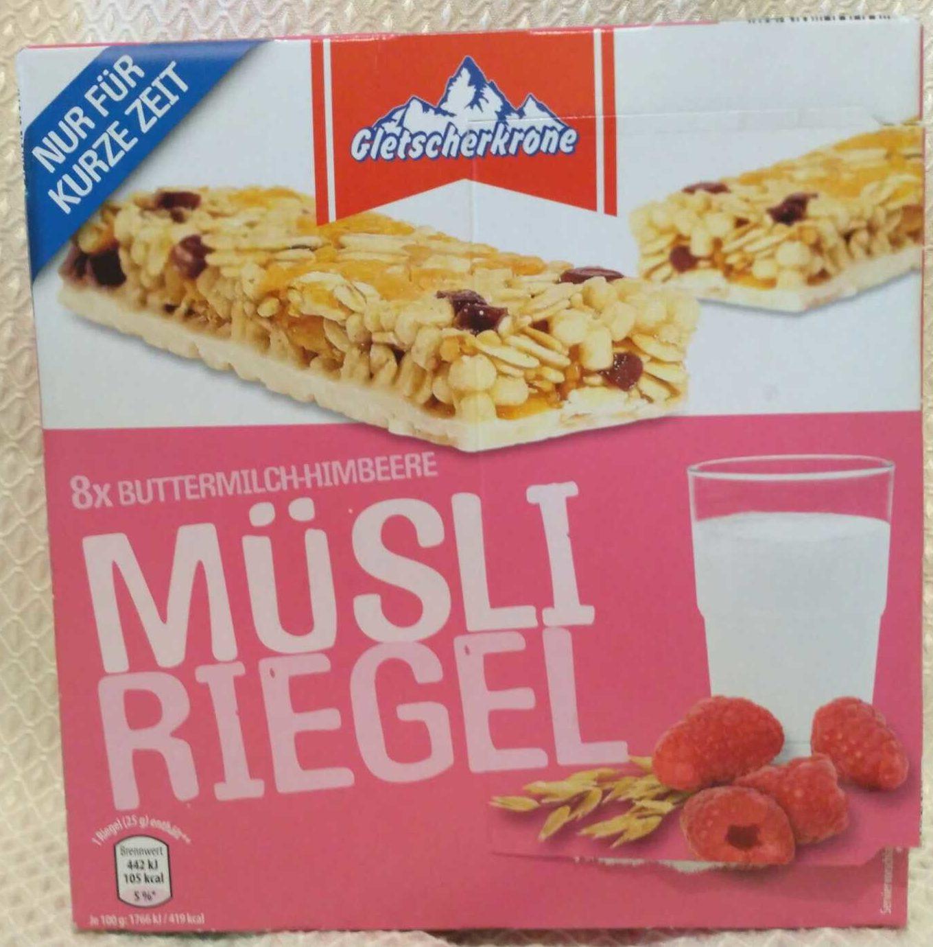Müsli Riegel Buttermilch-Himbeere (oder Haselnuss, Weisse Schoko) - Product