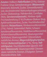 Müsli Riegel Buttermilch-Himbeere (oder Haselnuss, Weisse Schoko) - Ingredients