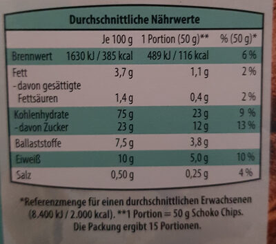Schoko Chips - Nutrition facts