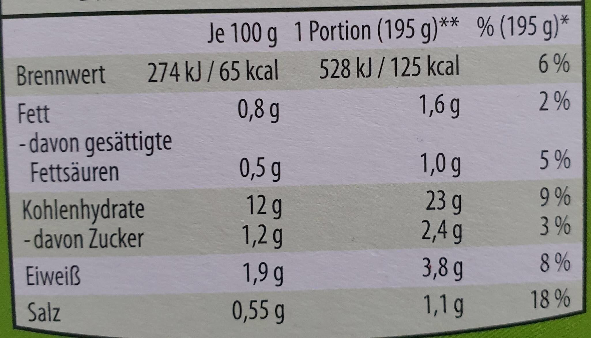 Kartoffelpüree 6 x 3 trockenprodukt, kartoffel - Informations nutritionnelles - de
