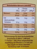 Kartoffel Püree - Informations nutritionnelles - de