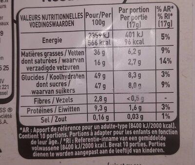 Chocolat Nestlé noisette entière torréfiées - Valori nutrizionali - fr