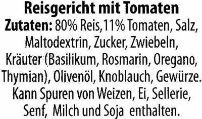 Risotto mit Tomaten - Inhaltsstoffe