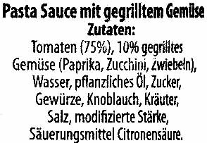 Pasta-Sauce Gegrilltes Gemüse - Inhaltsstoffe