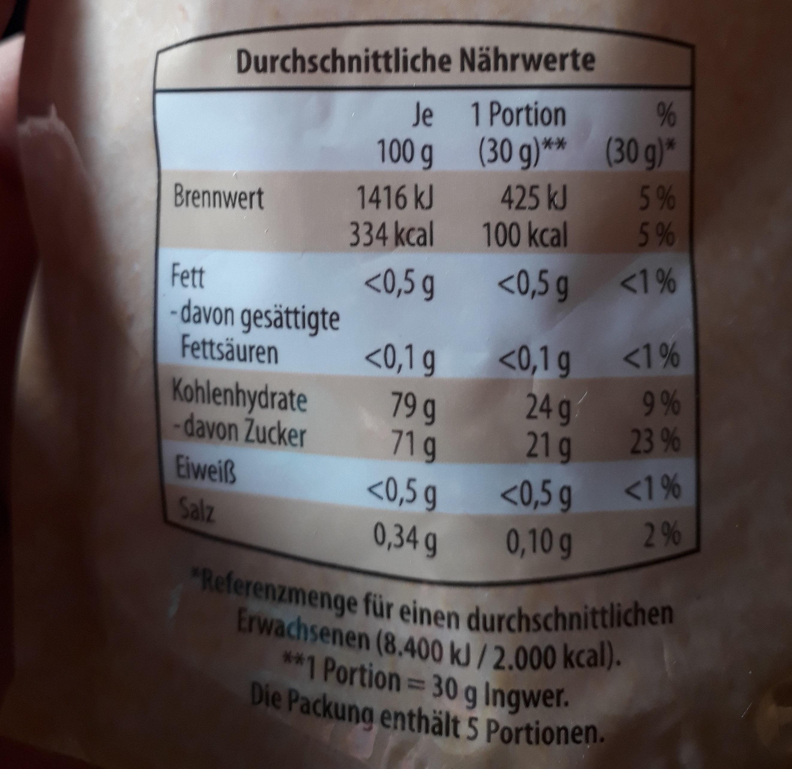 Golden Fruit Mango Getrocknet, Gezuckert - Información nutricional - de