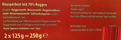 Roggen Knusperbrot - Inhaltsstoffe