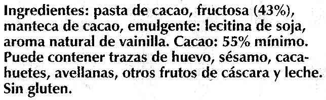 Tableta de chocolate negro con fructosa 55% cacao - Ingredients