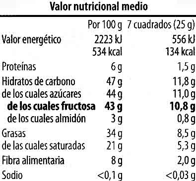 Tableta de chocolate negro con fructosa 55% cacao - Nutrition facts