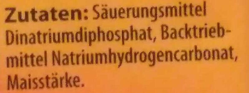 Backpulver - Ingredienti - de