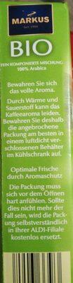 Hochland Bio 100% Arabica - Informations nutritionnelles - de