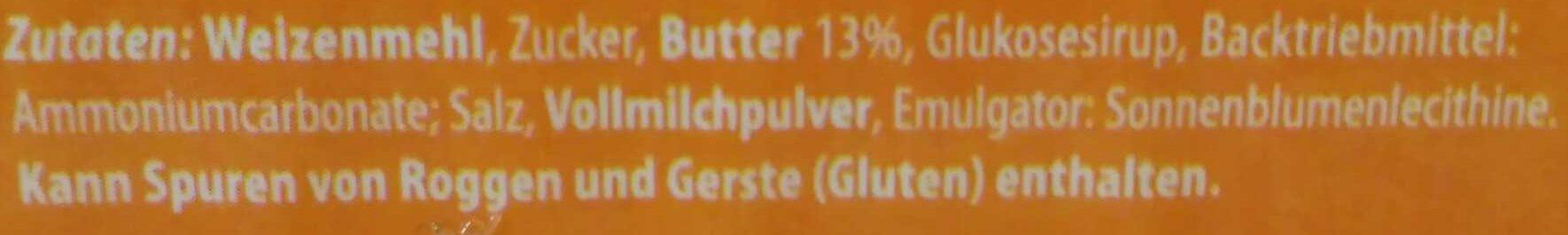 Butterkeks - Inhaltsstoffe