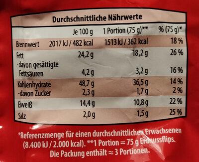 Erdnuss Flips - Nutrition facts - de