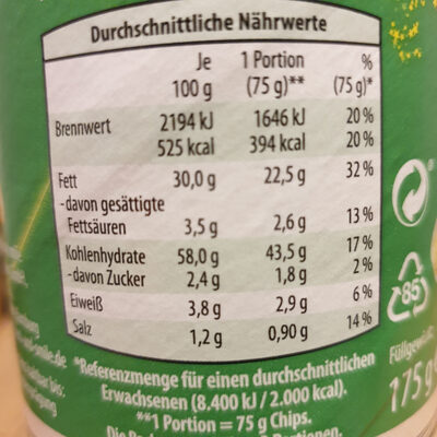 Stapeln Chips - Nutrition facts