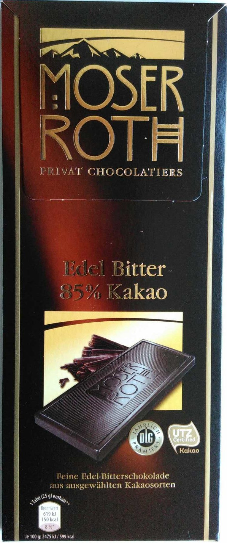 Edel Bitter 85% Kakao - Moser Roth - 125 g