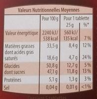 chocolat noir 85 % cacao - Voedingswaarden - fr