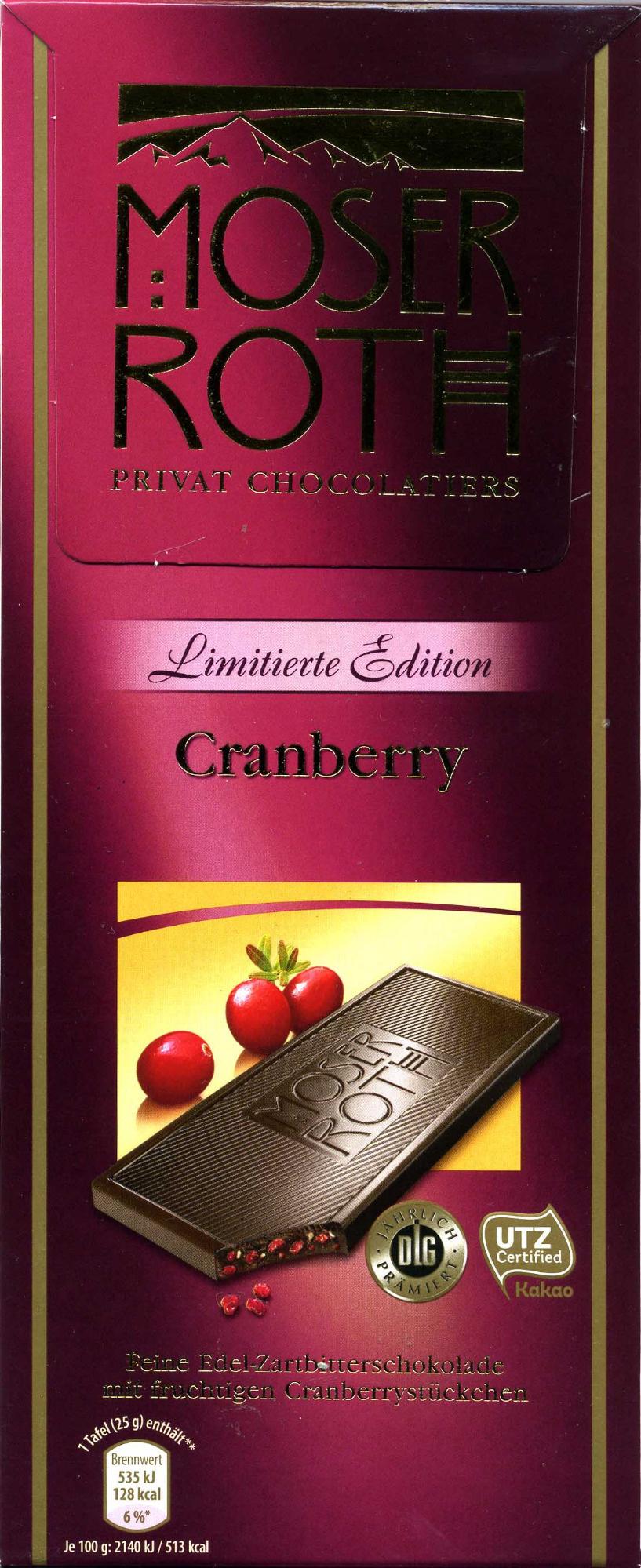 Edel-Zartbitterschokolade Cranberry 52 % Kakao - Producto - de