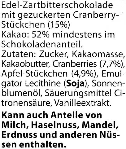 Edel-Zartbitterschokolade Cranberry 52 % Kakao - Ingredients