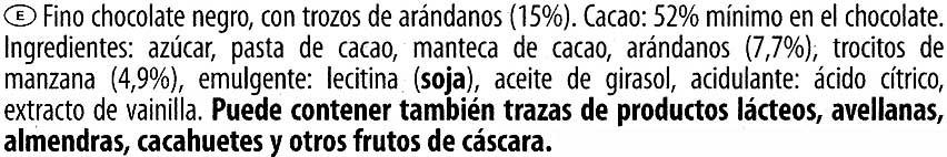 Edel-Zartbitterschokolade Cranberry 52 % Kakao - Ingredientes - es