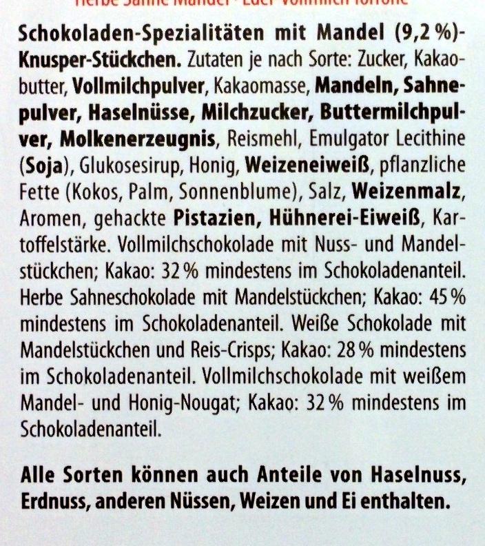 Merci Finest Selection Mandel Knusper Vielfalt - Ingrediënten - de
