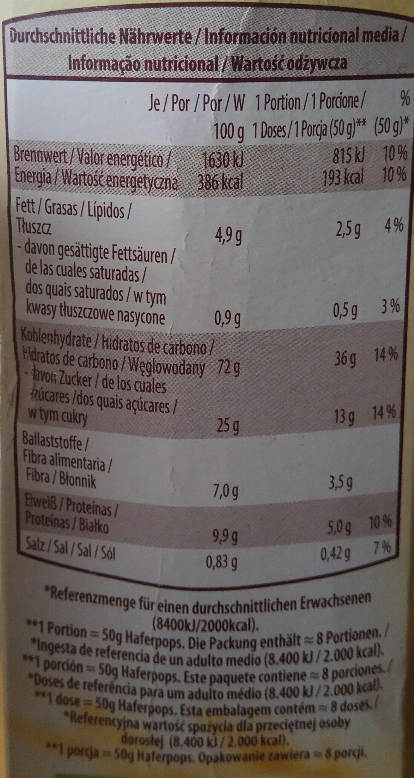 Haferpops - Nutrition facts - de