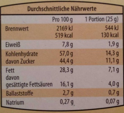 Knusper Schoklis - Voedingswaarden - de