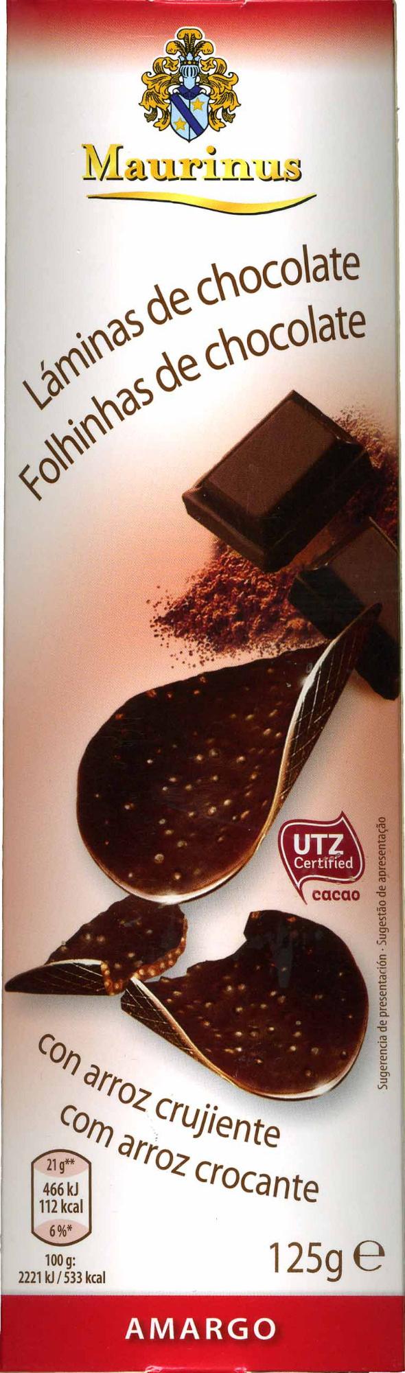 Láminas de chocolate - Producto - es