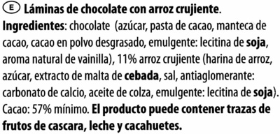 Láminas de chocolate - Ingredientes