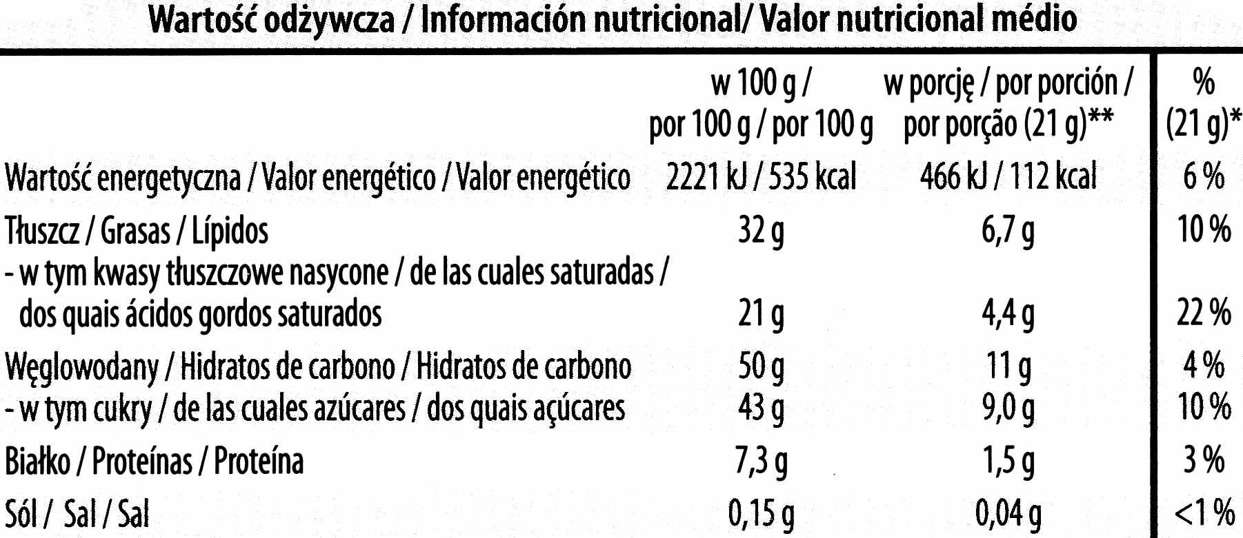 Láminas de chocolate amargo - Información nutricional