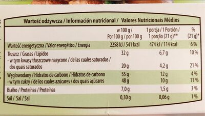 Láminas de chocolate - Nutrition facts - es