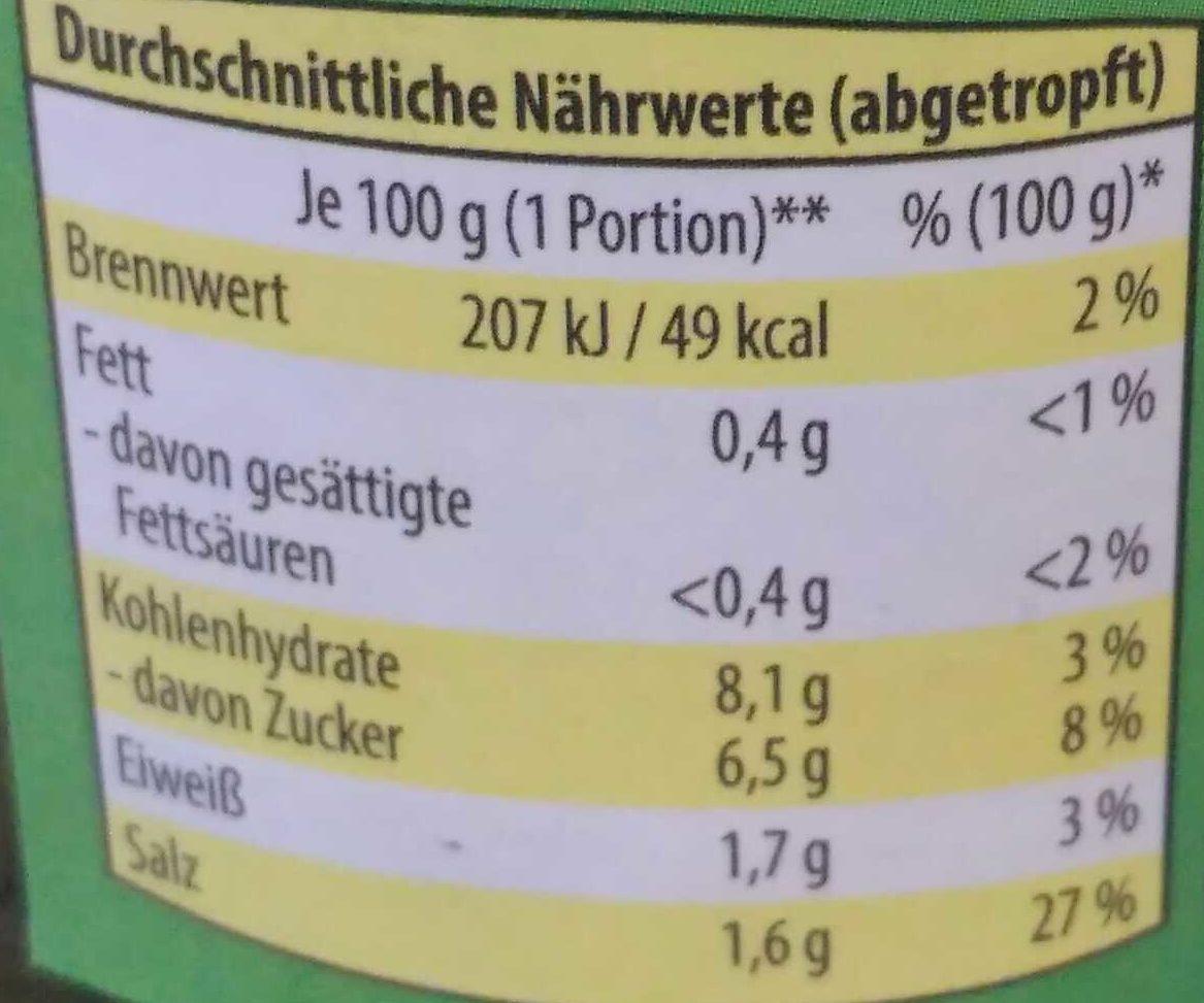 Cornichons Premium knackig, mit frischen Kräutern - Voedigswaarden