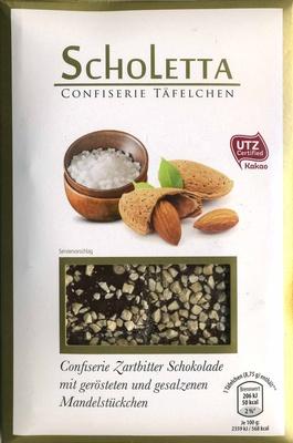 Zarbitter Schokolade mit gerösteten und gesalzenen Mandelstückchen - Produit