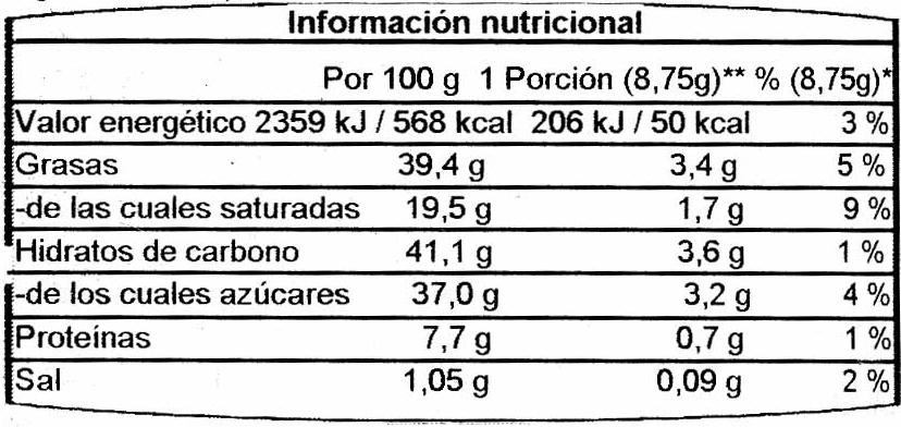 Zarbitter Schokolade mit gerösteten und gesalzenen Mandelstückchen - Información nutricional - es
