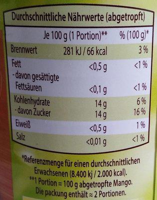 Mango in Scheiben - Informations nutritionnelles