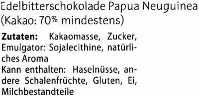 Edelbitterschokolade Papua Neuguinea 70% Kakao - Inhaltsstoffe