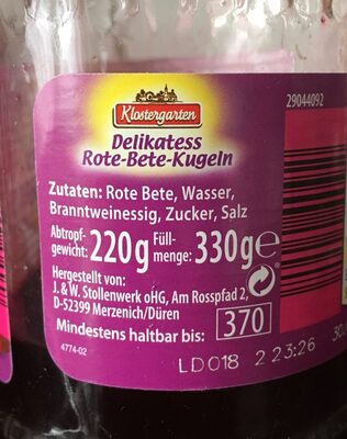 Betterave rouge - Ingrediënten