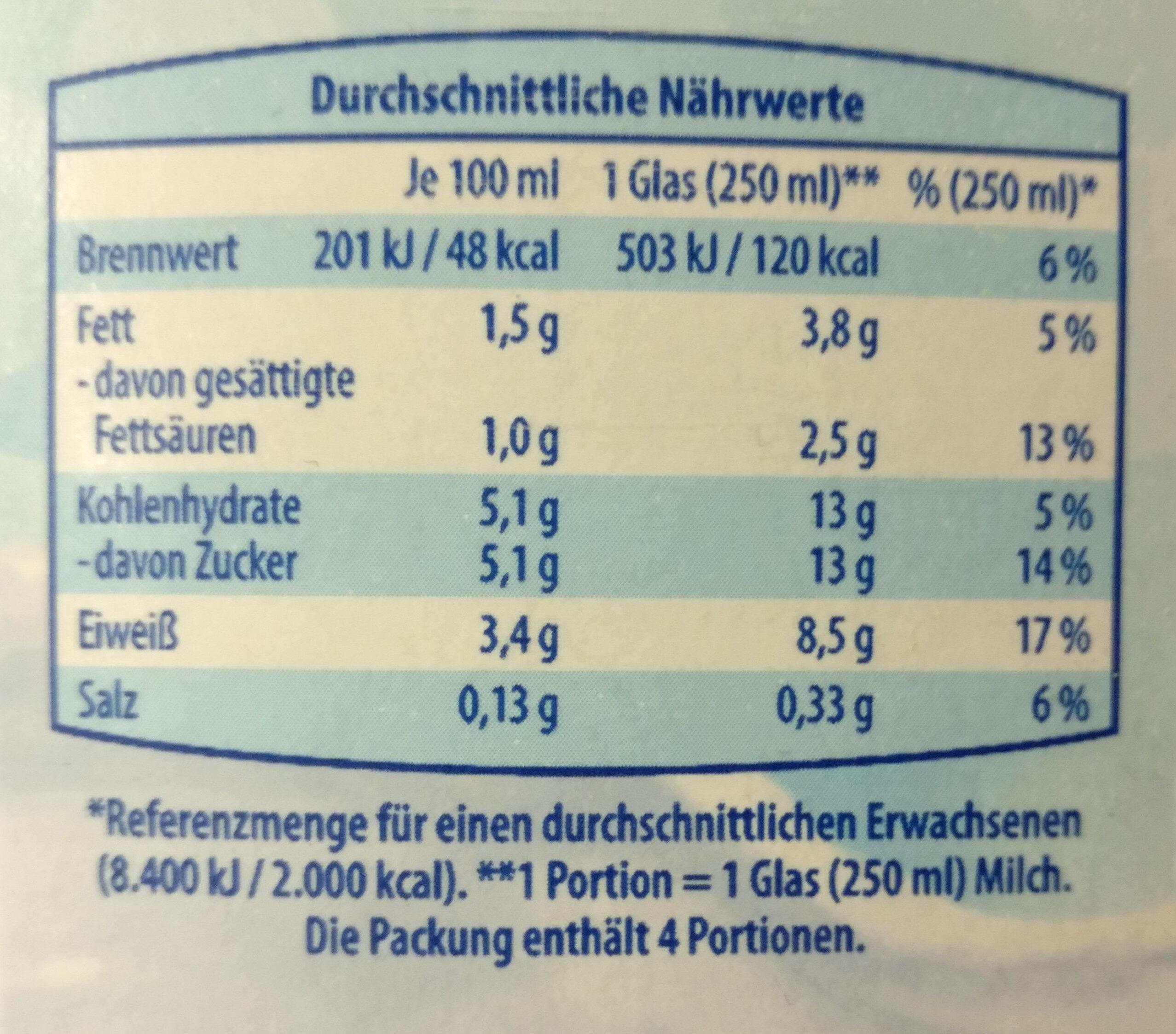 Land Milch fettarm - Informations nutritionnelles - de