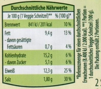 Veggie Schnitzel mit Paprika-Tomaten Füllung - Nutrition facts - de