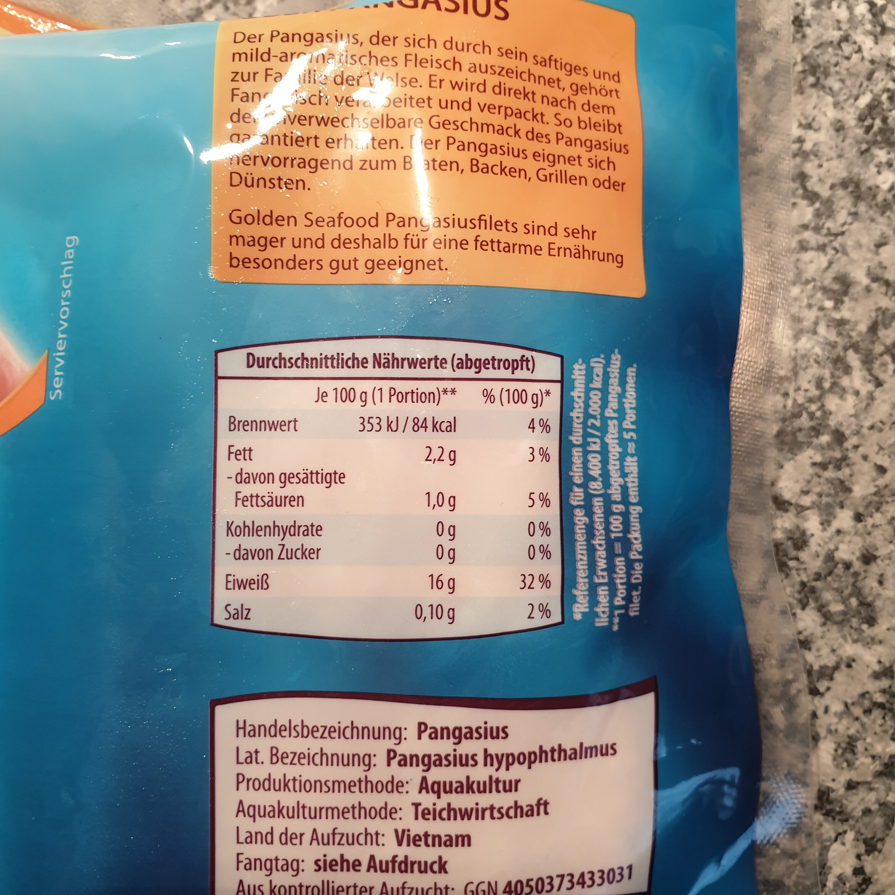 Pangasius Filets - Nutrition facts