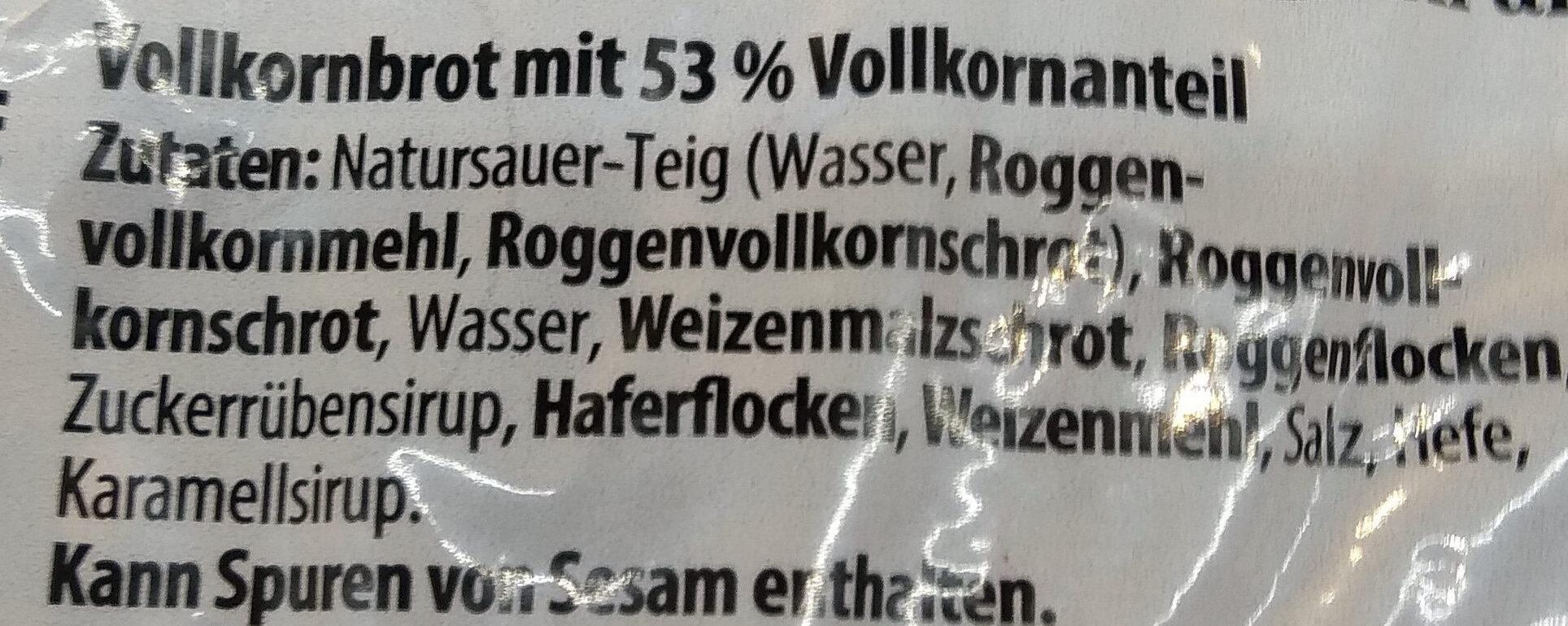 Roggenvollkornbrot - Ingredients