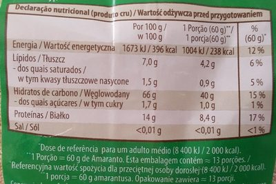 Amarante - Voedingswaarden - fr