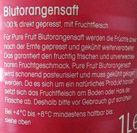 Blutorangensaft - Inhaltsstoffe