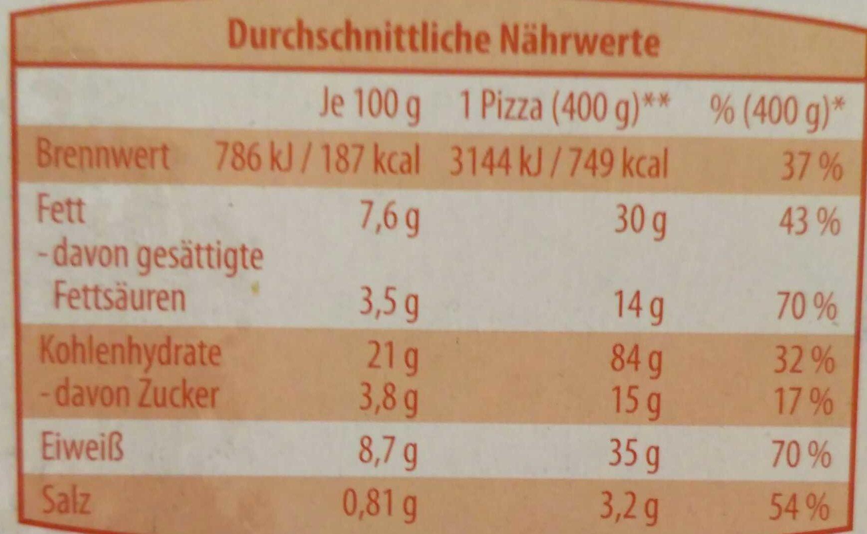 Holzofen Pizza Original Italiana Fantasia - Nutrition facts - de