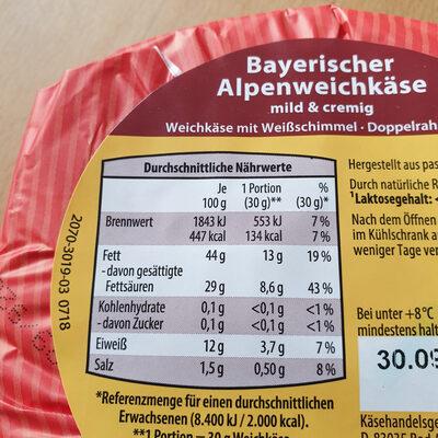bayrischer alpenweichkäse - Nutrition facts