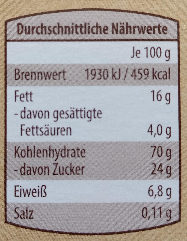 Buchweizen Müsli Schoko und Mandel - Nutrition facts - de
