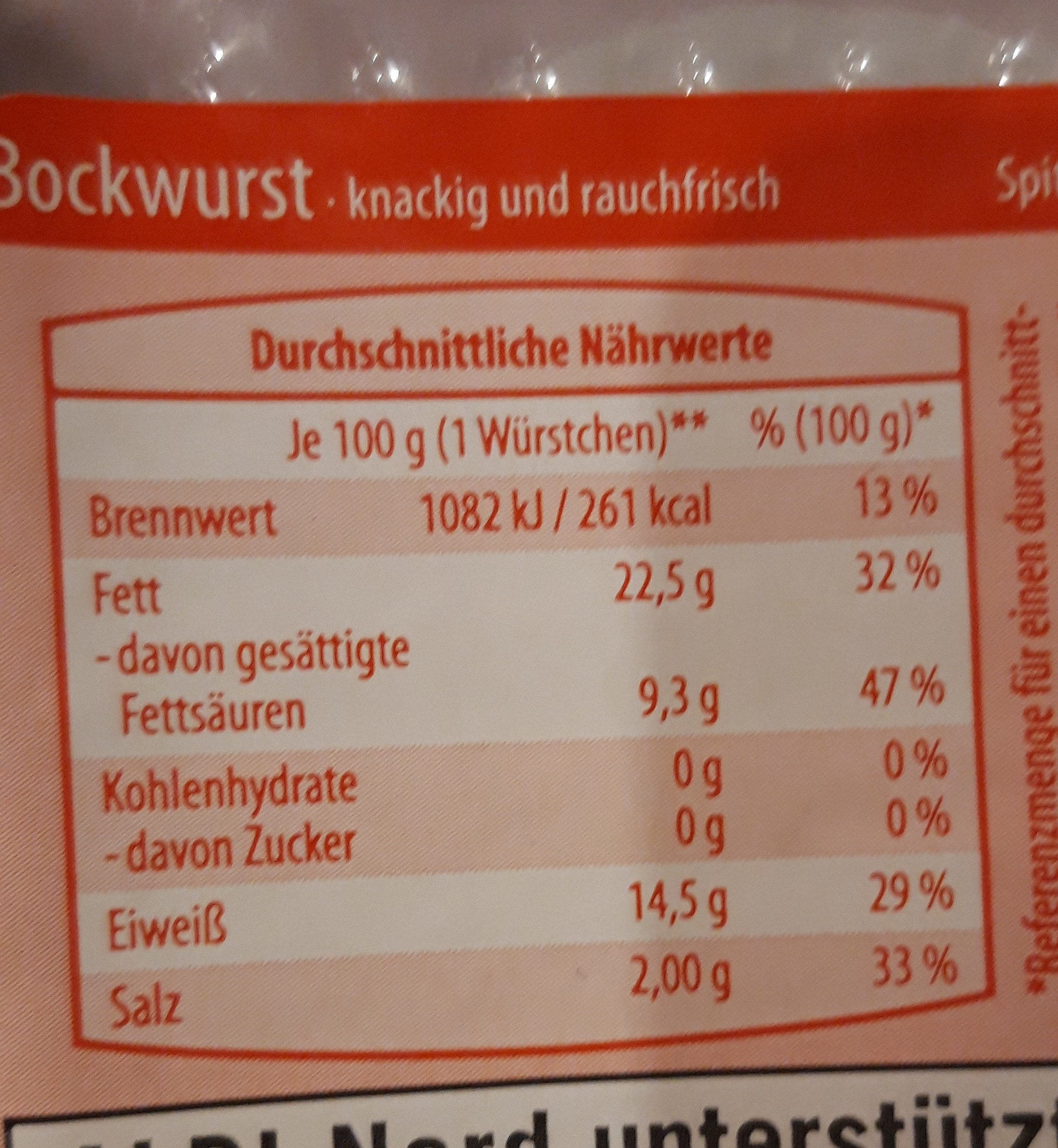 Bockwurst - Informations nutritionnelles - de