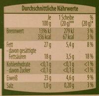 Queso cremoso ecológico ligeramente ahumado - Informação nutricional - de