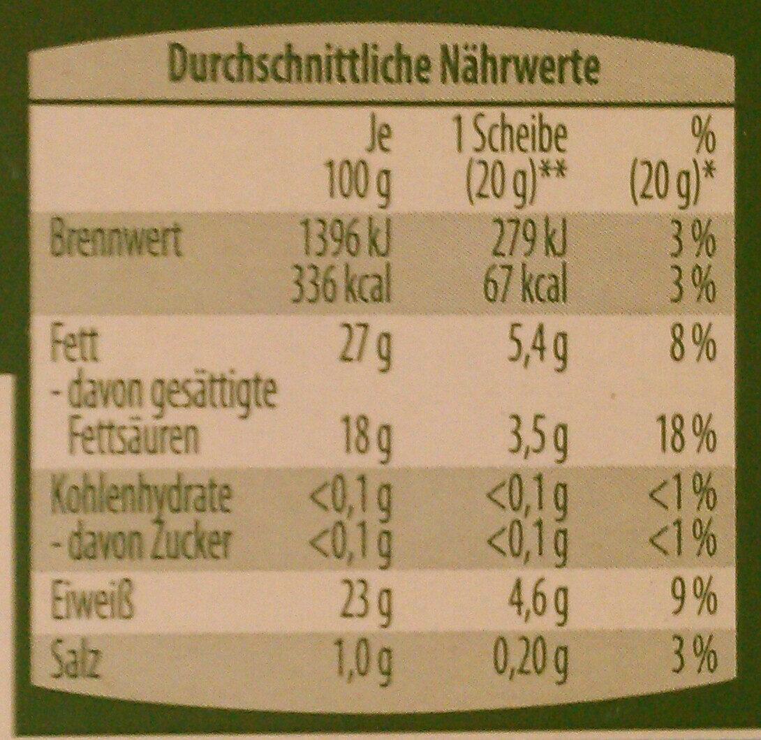 Queso cremoso ecológico ligeramente ahumado - Voedingswaarden - de